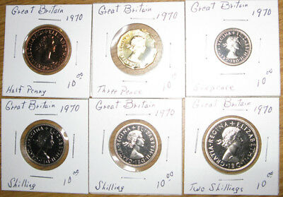 Lot,6 Great Britain 1970,Proof coins