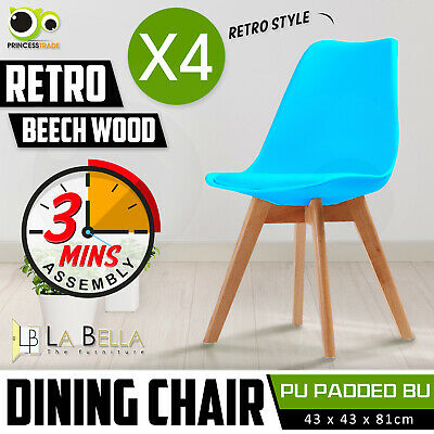 4 x Retro Replica Eames Eiffel PU Padded DSW Beech Dining Chairs Cafe Kitchen