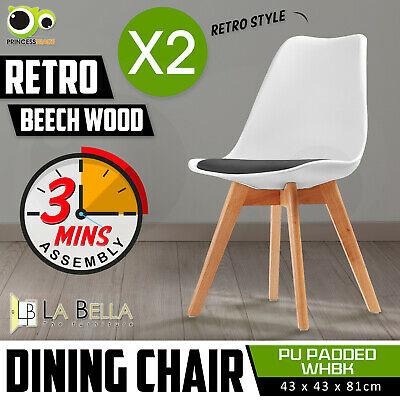 2 x Retro Replica Eames Eiffel PU Padded DSW Beech Dining Chairs Cafe Kitchen