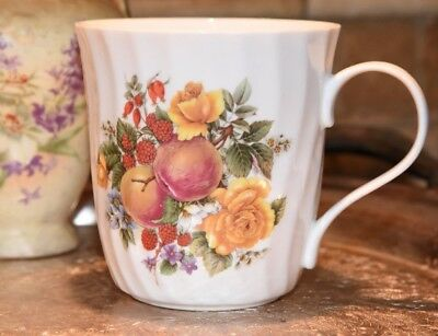 Crown Trent Harvest Coffee Mugs Staffordshire England Yellow Rose Apple Berries