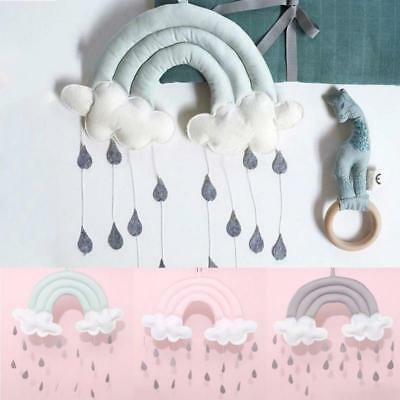 Rainbow Cloud Rain Drops Bed Wall Hanging Photo Prop Nursery Bedroom Decor LC