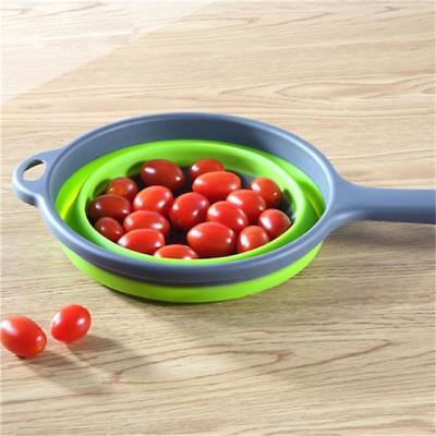 Silicone Collapsible Colander Food Fruit Vegetable Draining Strainer Handle LG