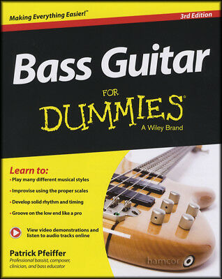 Bass Guitar for Dummies 3rd Edition TAB Music Book/Audio/Video Learn How to Play