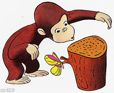 """6/"""" Curious george monkey rabbit wall safe sticker border cut out character"""