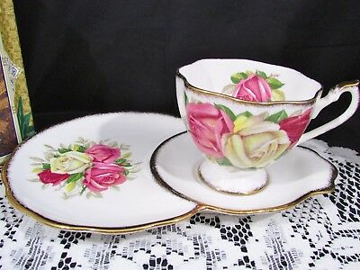 Queen Anne Lady Sylvia Red Pink White Roses Tea Cup Snack Set