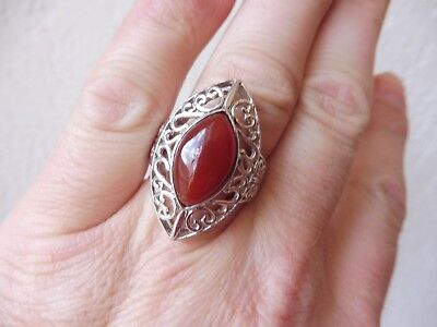 VERY NICE, Large RING__925 Silver __ WITH RED BROWN STONE __