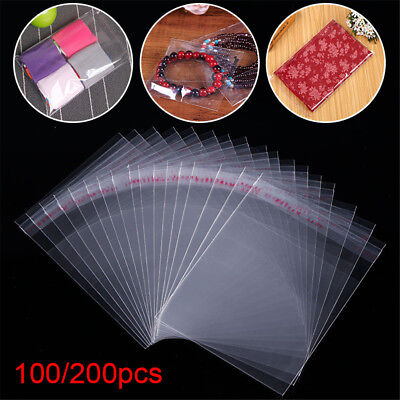 100/200Pcs Resealable Poly Bags Clear Opp Bag Plastic Bags Self Adhesive Seal