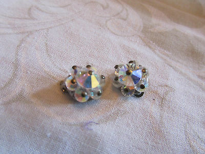 Silver Tone & Clear Faceted Glass Clip On Earrings Unknown Vintage 1.5cm across