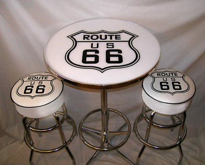2 Route 66 White Bar Stools & Pub Table New