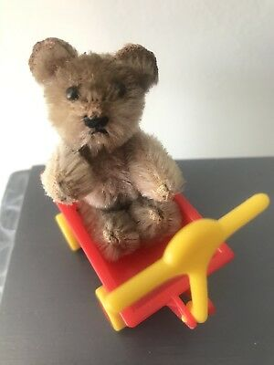 "RARE Antique Vintage SCHUCO Miniature Mohair Tiny Bear 2.5"" BROWN NR W/Wagon"