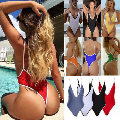 One Piece Women V Neck Thong Bikini Monokini Swimsuit Swimwear Bathing Beachwear