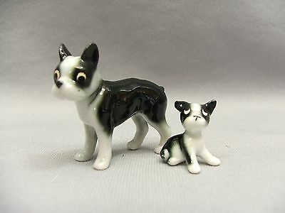 Miniature Boston Terrier Mother and Puppy 1970s Era Porcelain Dog Figurines