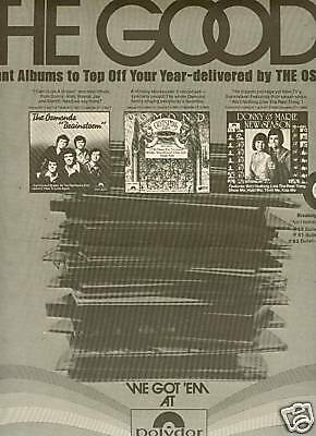 THE OSMONDS Have THE GOODS 1976 Promo Poster Ad MINT!