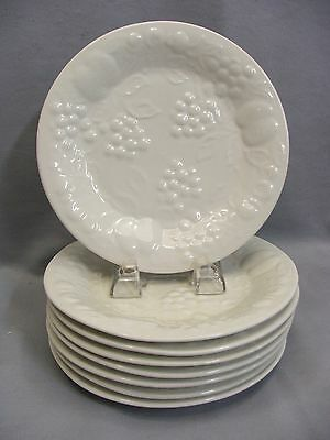 Gibson White Embossed Fruit Flourish Stoneware Salad Plates Quantity of 8