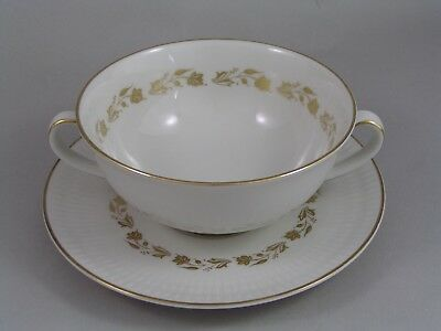 Royal Doulton Fairfax Two Handled Soup Coup And Saucer.