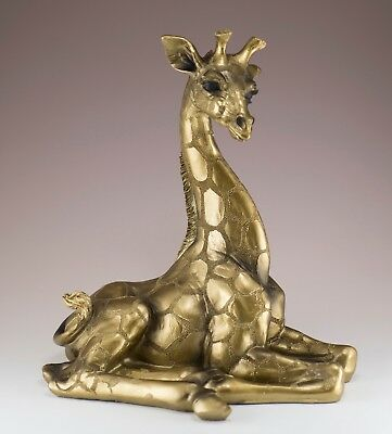 "Brass/Bronze Colored Laying Giraffe Figurine Statue 10"" High Resin New In Box"