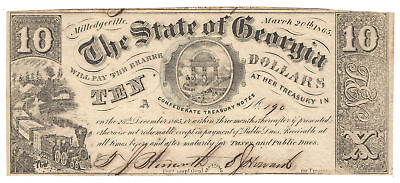 $10 1865 The State of Georgia Milledgeville Obsolete Confederate Treasury Note