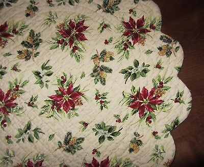 Longaberger Table Topper Quilted Holiday BOTANICAL Reversible