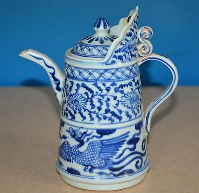 Elegant Antique Chinese Blue And White Porcelain Pitcher Rare S9576