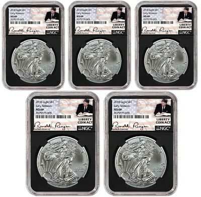 2018 1oz Silver Eagle NGC MS69 ER Liberty Coin Act Black Core 5 Pack
