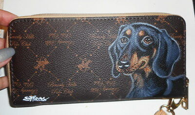 Black and Tan Dachshund dog Hand Painted Designer Wallet for Women