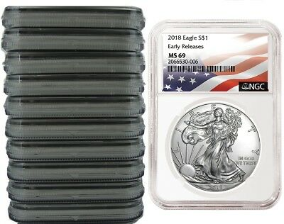 2018 1oz Silver Eagle NGC MS69 Early Releases Flag Label - 10 Pack