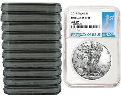 2018 1oz Silver Eagle NGC MS69 First Day Issue 10 Pack