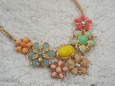 Colorful Pastel Goldtone Rhinestone Acrylic Cabochon Flower Scoop Necklace (B29)