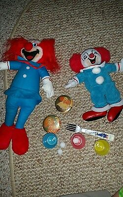 Vintage BOZO buttons, Plush Clown