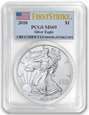 2018 1oz Silver Eagle PCGS MS69 - First Strike Label - In Stock!