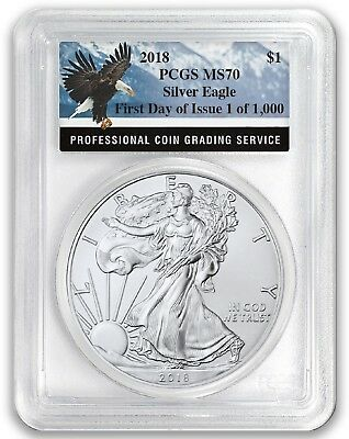 2018 1oz Silver Eagle PCGS MS70 - First Day Issue Eagle Label 1 of 1000