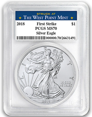 2018 1oz Silver Eagle PCGS MS70 - First Strike - West Point Label - In Stock