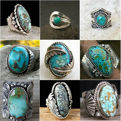 925 Sterling Silver Turquoise Gemstone Ring Men Women Wedding Unisex Jewelry New