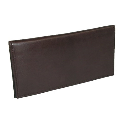 Basic Soft Leather Checkbook Cover Genuine Beautiful Simple Holder Slim Brown