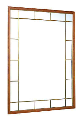 Mid 20Th Century Large Teak And Brass Mirror