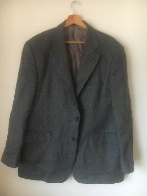 """Suit Jacket Size 46"""" Black White Speckle Wool Lined M&S <T15484"""