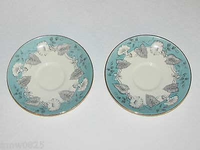 2 VINTAGE MYOTT MORNING GLORY SAUCERS ONLY TURQUOISE BLACK no cup ENGLAND ANTIQU