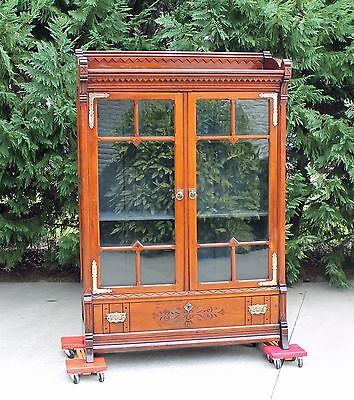 Wonderful Walnut Victorian Bookcase w Drawer & Heavy Brass Hardware c1875