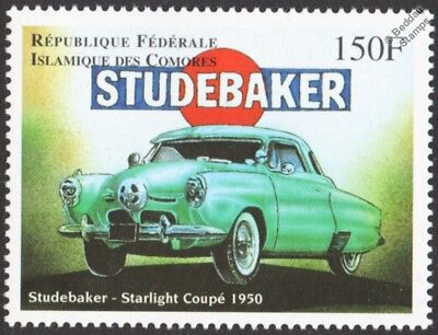 1950 STUDEBAKER Starlight Coupe Classic Car / Automobile Stamp (1998 Comoros)