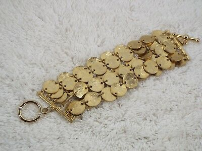 KENNETH LANE Hammered Goldtone Multi Disk Chain Bracelet (B39)