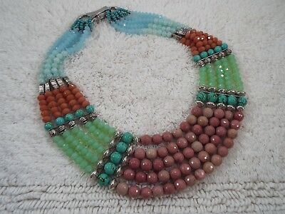 Heavy Mix Turquoise, Amazonite, Rhodonite Stone Czech Crystal Necklace (B39)