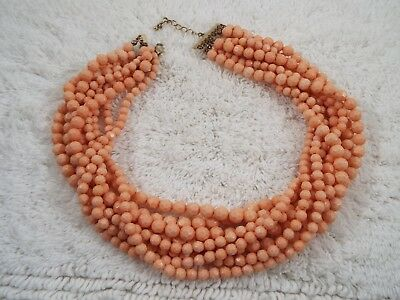 Salmon Peach Multi Strand Acrylic Bead Necklace (B39)