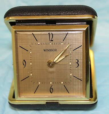 Vintage Windsor Wind Up Folding Travel Alarm Clock Still Working