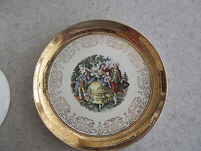 Sabin Crest O Gold Warranted 22k Dinner Plate Vintage Antique Colonial