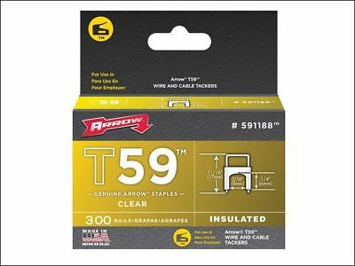 Arrow T59 Insulated Staples Clear 6 x 8mm Box 300