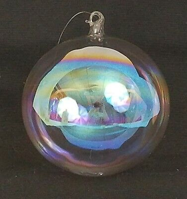 """Vtg 4"""" Clear Glass Round Ball Iridescent Christmas Holiday Ornament Globe Large"""