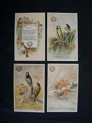 Vintage CLARK'S MILE-END advertisment trade card VICTORIAN BIRD/SEASONS LOT of 4