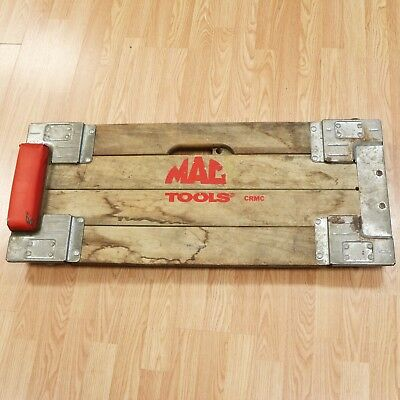 Vtg Mac Tools Steel Frame Wood Mechanics Creeper CRMC Garage Decor Floor Crawler