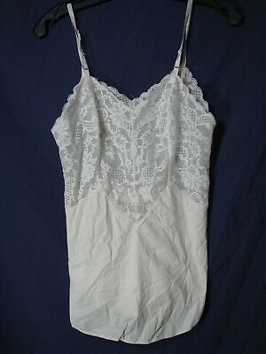 VANITY FAIR Nylon Antron III WHITE CAMISOLE TOP CAMI Lace Lingerie VINTAGE 32-S