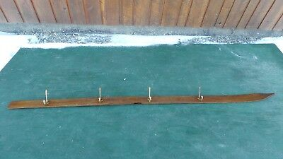 Vintage Wooden Ski Coat Hook Wall Hanging Rack with 4 Hooks Great for Lodge